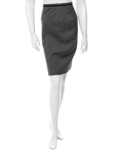 Dolce & Gabbana Velvet Trim Pencil Skirt None