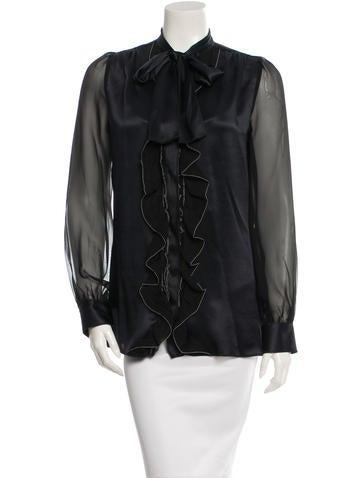 Dolce & Gabbana Ruffle-Trimmed Silk Top w/ Tags None
