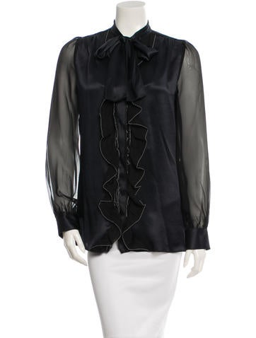 Dolce & Gabbana Ruffle-Trimmed Silk Top w/ Tags None