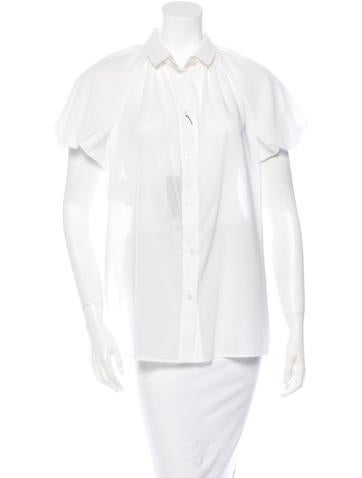 Dolce & Gabbana Gathered Button-Up Top w/ Tags None