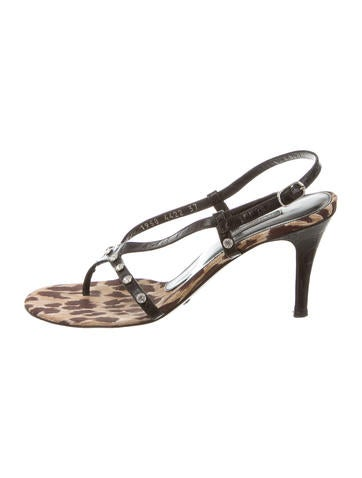 Leather Jeweled Sandals