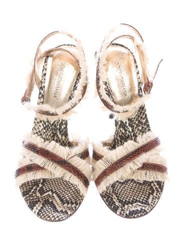 Fringe-Trimmed Snakeskin Sandals