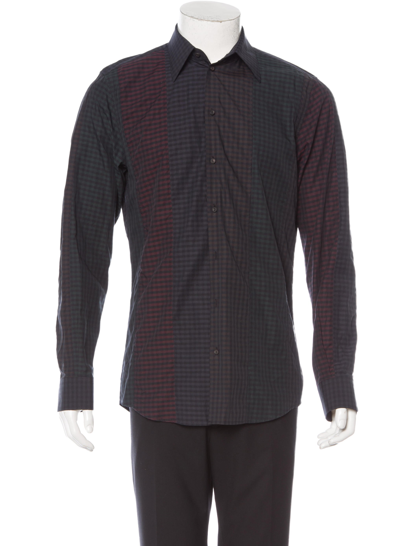 Dolce Gabbana Gingham Print Button Up Shirt Clothing