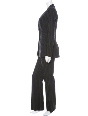 Pin Striped Straight-Leg Pants