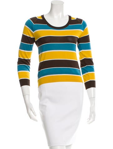 Dolce & Gabbana Striped Silk Knit Top None