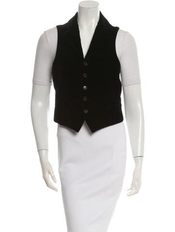 Dolce & Gabbana Notch-Lapel Velvet Vest None