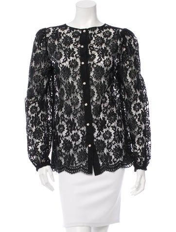 Dolce & Gabbana Long Sleeve Lace Top None
