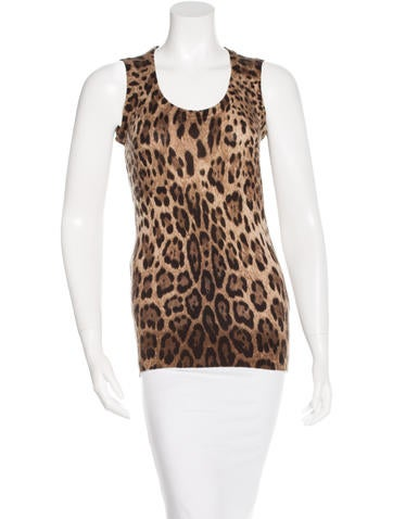 Dolce & Gabbana Wool & Cashmere-Blend Leopard Print Top None