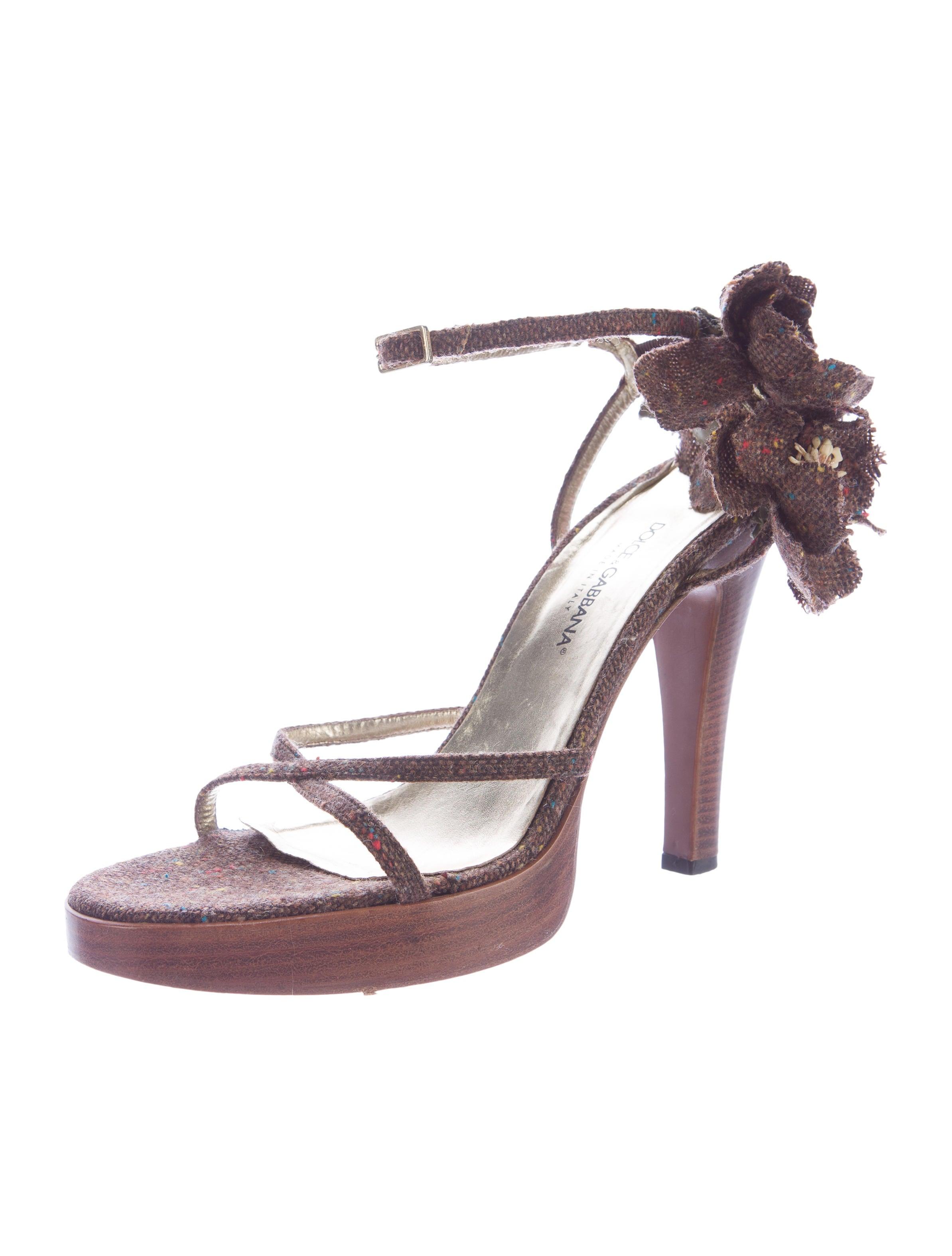 Dolce & Gabbana Tweed Floral Sandals - Shoes