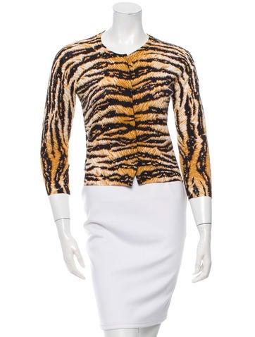 Dolce & Gabbana Tiger Print Three-Quarter Sleeve Cardigan