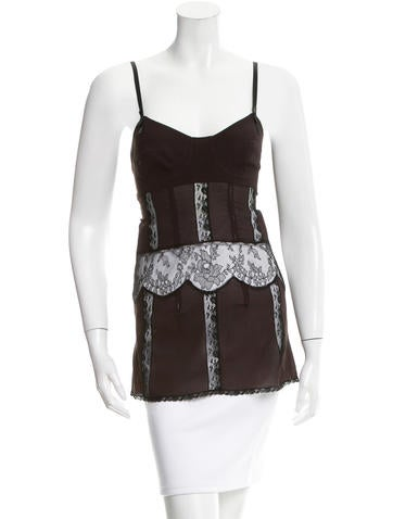 Dolce & Gabbana Lace-Accented Decollete Neck Top None