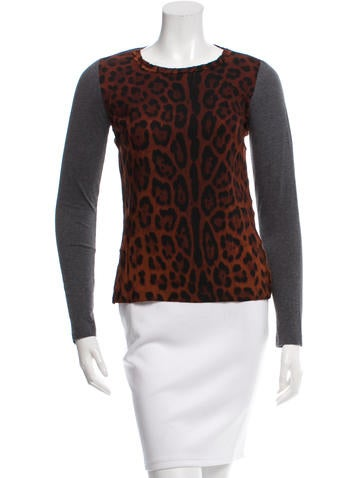 Dolce & Gabbana Leopard Print Crew Neck Top None