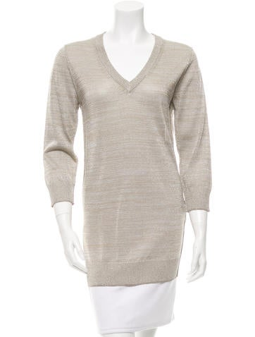 Dolce & Gabbana Metallic V-Neck Sweater None