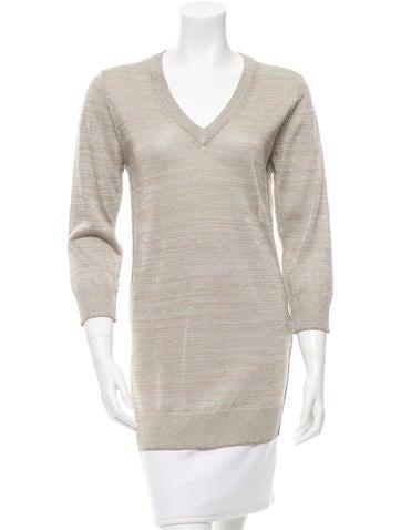 Dolce & Gabbana Metallic V-Neck Sweater None