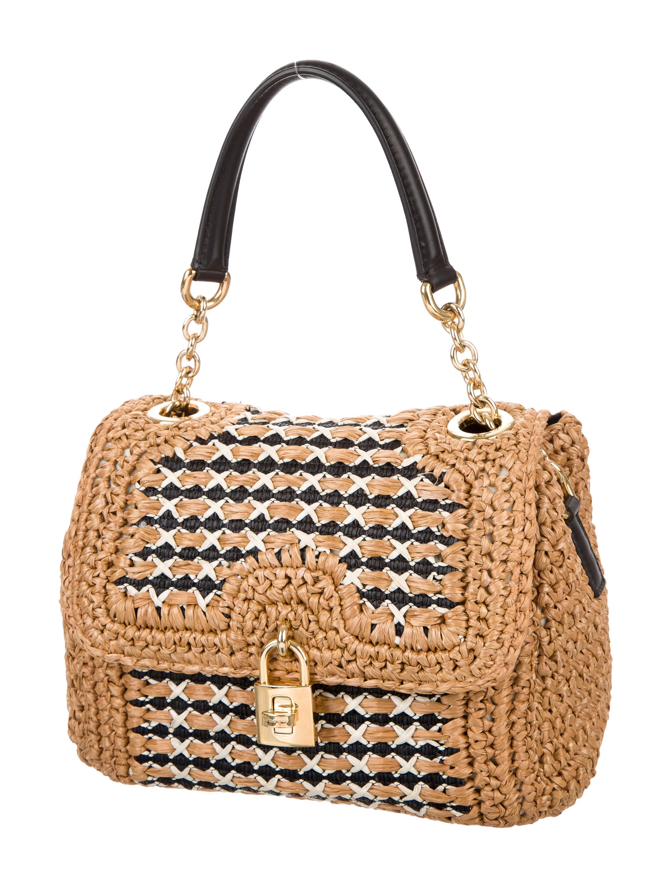 Dolce Amp Gabbana Raffia Woven Satchel Handbags Dag65714