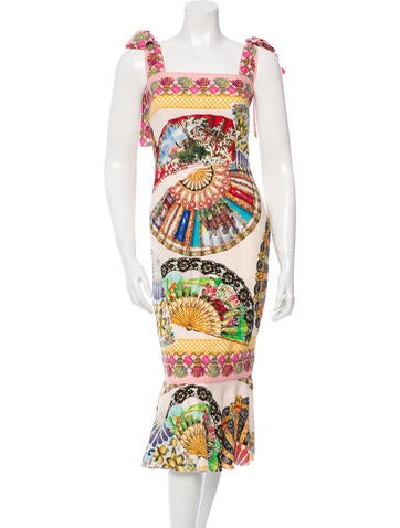 Fan Print Silk Dress