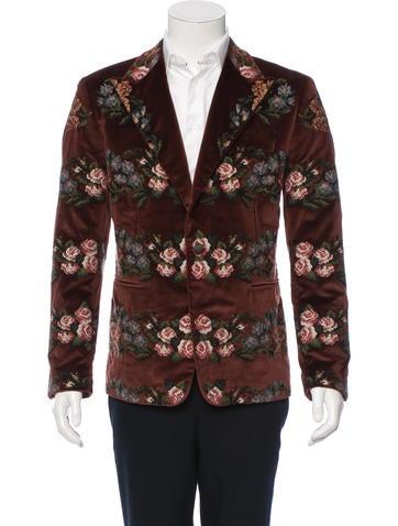 Dolce & Gabbana Floral Needlepoint Velvet Blazer None