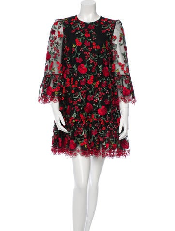 Rose-Embroidered Dress