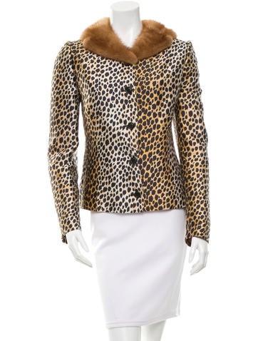 Dolce & Gabbana Mink-Trimmed Cheetah Print Jacket
