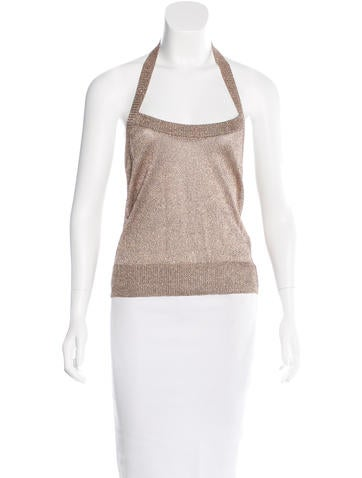 Dolce & Gabbana Metallic Halter Top None