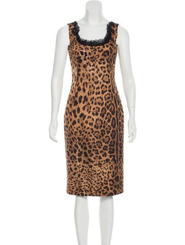 Dolce & Gabbana Lace-Trimmed Leopard Print Dress