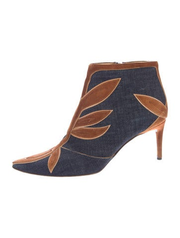 Denim Pointed-Toe Booties