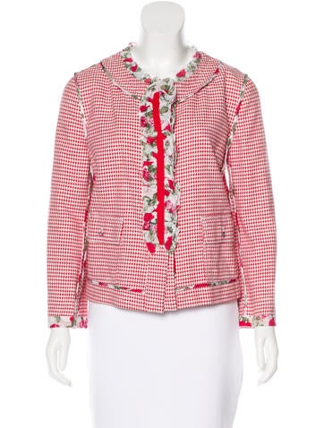 Dolce & Gabbana Ruffle-Trimmed Houndstooth Jacket