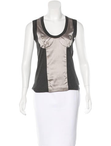 Dolce & Gabbana Satin-Trimmed Sleeveless Top None