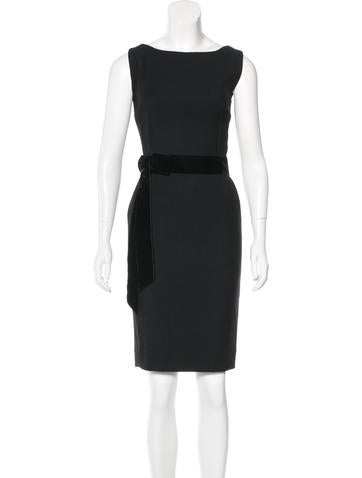 Dolce & Gabbana Velvet Accented Sheath Dress None