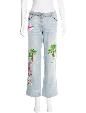 Dolce & Gabbana Embroidered Wide-Leg Jeans