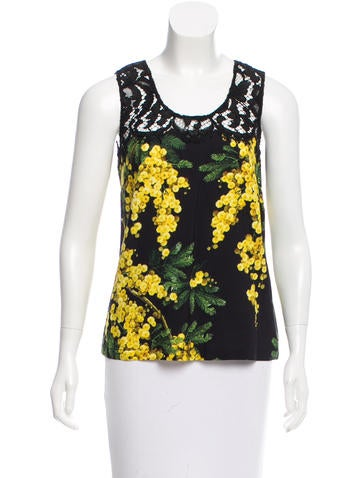 Dolce & Gabbana Mimosa Print Sleeveless Top w/ Tags None