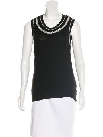 Dolce & Gabbana Embellished Virgin Wool Top None