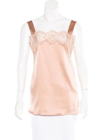 Dolce & Gabbana Lace-Trimmed Silk Top None