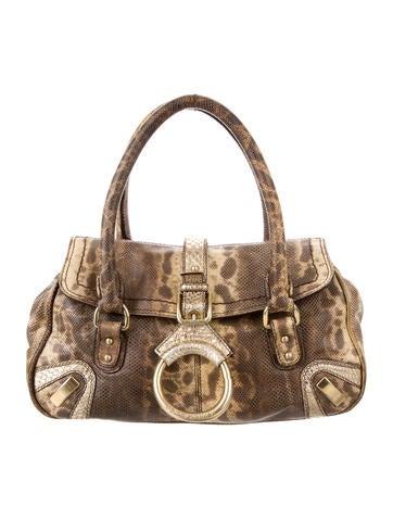 Dolce & Gabbana Snakeskin-Accented Karung Handle Bag