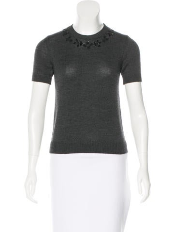 Dolce & Gabbana Virgin Wool Beaded Top None