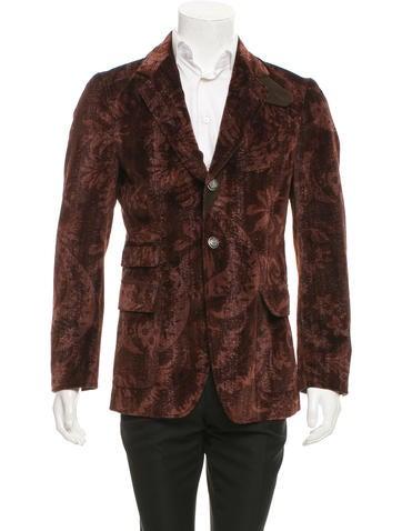 Dolce & Gabbana Velvet Floral Print Blazer None