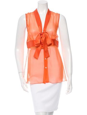 Dolce & Gabbana Sleeveless Silk Top w/ Tags None