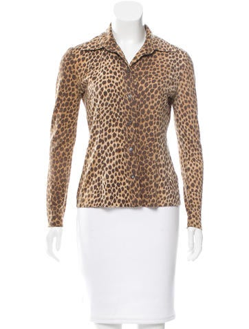 Dolce & Gabbana Wool Cheetah Print Top None