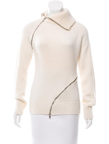 Dolce & Gabbana Zip-Accented Virgin Wool Sweater None