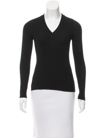 Dolce & Gabbana Rib Knit V-Neck Sweater None
