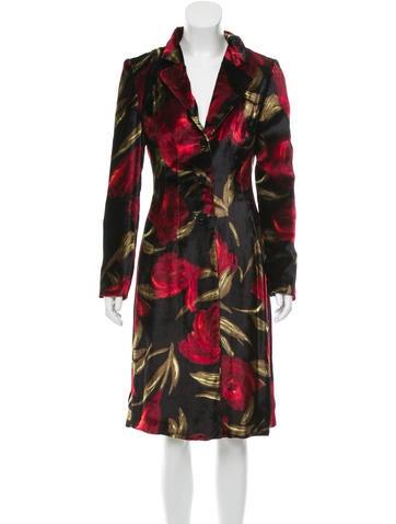 Dolce & Gabbana Rose Print Velvet Coat None