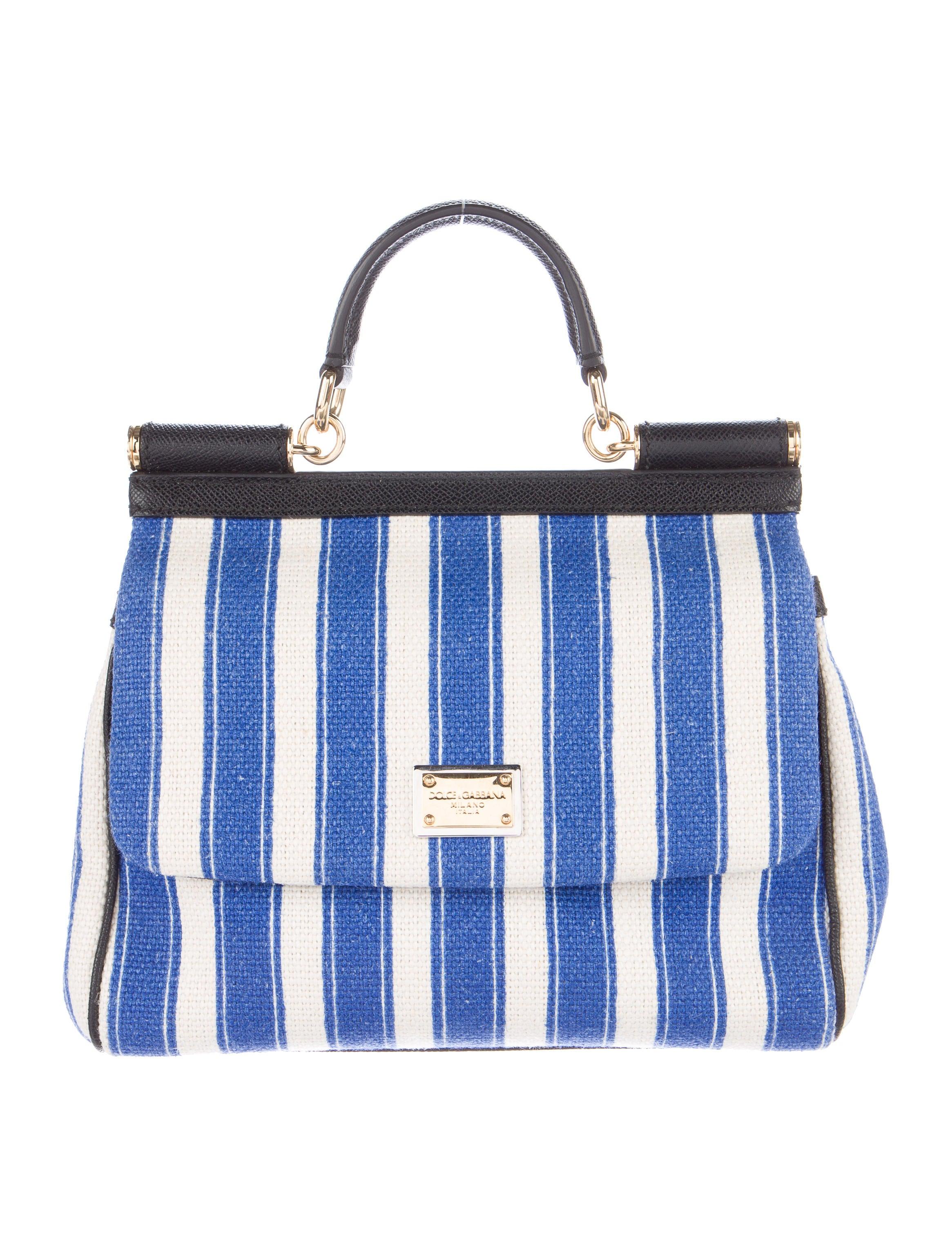 8d8a87fa75 Dolce   Gabbana Medium Striped Miss Sicily Bag - Handbags - DAG70452 ...