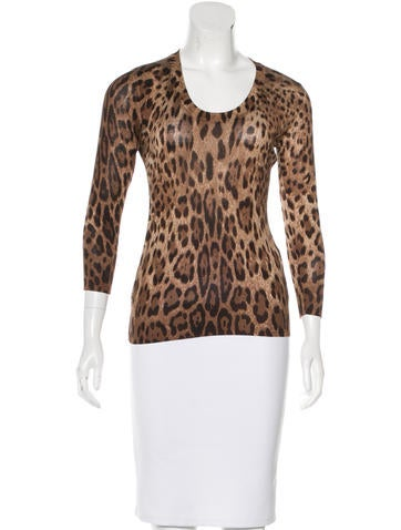 Dolce & Gabbana Long Sleeve Scoop Neck Top None