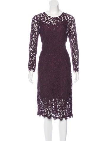 Dolce & Gabbana Eyelash Lace Midi Dress None
