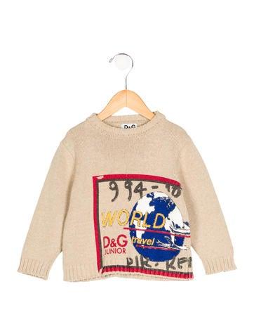 Dolce & Gabbana Boys' Globe Print Rib Knit Sweater None