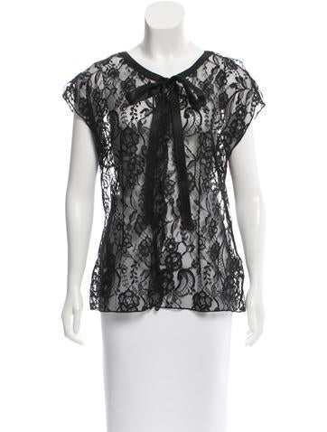 Dolce & Gabbana Lace Satin-Trimmed Top None