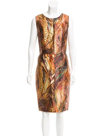 Dolce & Gabbana Silk Feather Print Dress w/ Tags None