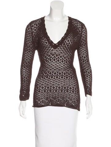 Dolce & Gabbana Open-Knit V-Neck Sweater None