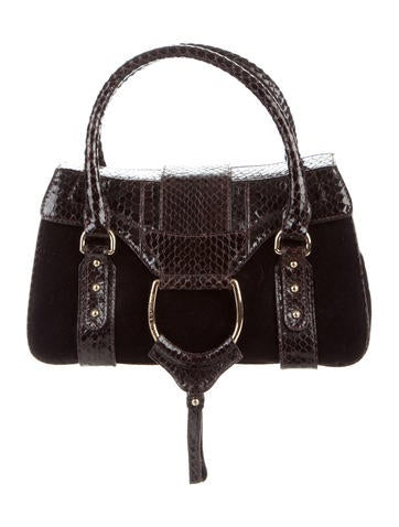 Dolce & Gabbana Python-Accented Velvet Handle Bag None