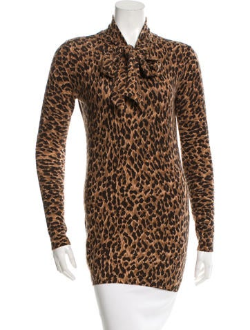 Dolce & Gabbana Leopard Print Scarf Sweater None